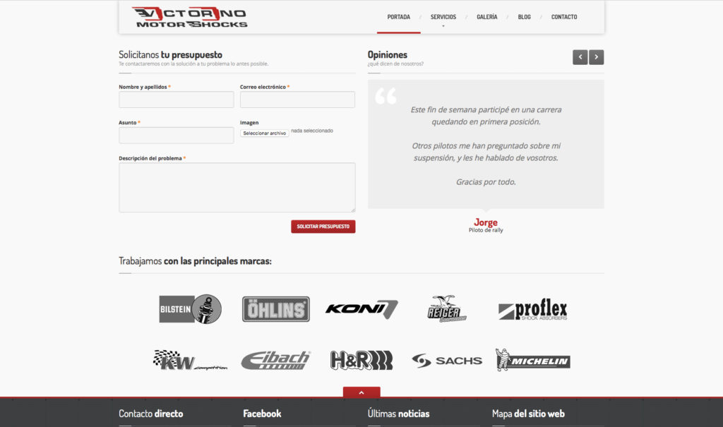 Victorino Motor Shocks - Vista web 2